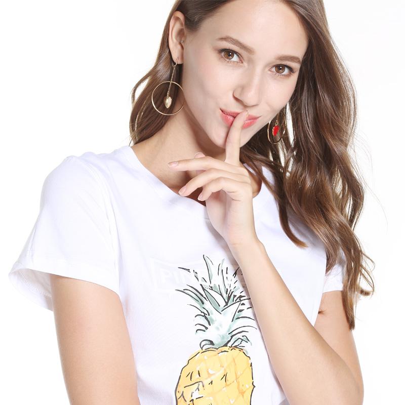 芮芙朵短袖女T恤2018新款夏修身休闲宽松半袖打底印花ins上衣宽松