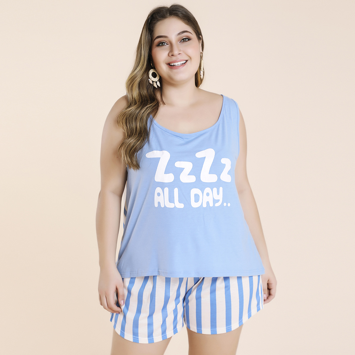 Real time letter printing and color contrast round neck vest stripe Shorts Large suit home clothes
