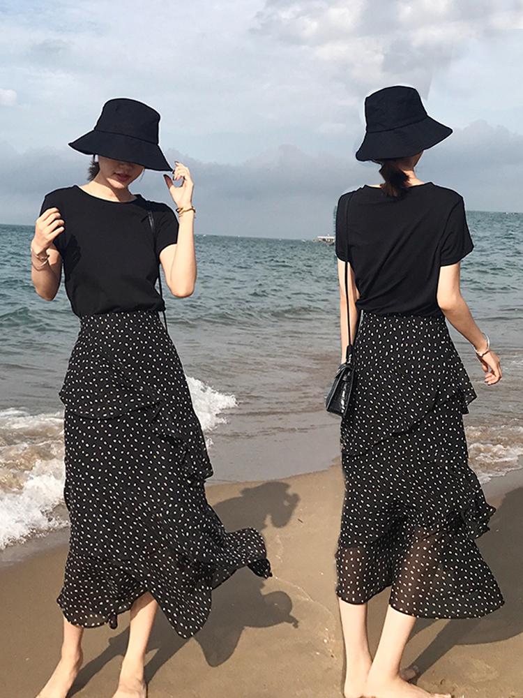 2019小清新波点半身裙女装中长款A字裙网红蛋糕度假高腰裙子16