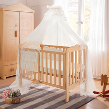 Foru White Magnolia solid wood baby bed splicing big bed European bionic multi-functional baby bed imported solid wood