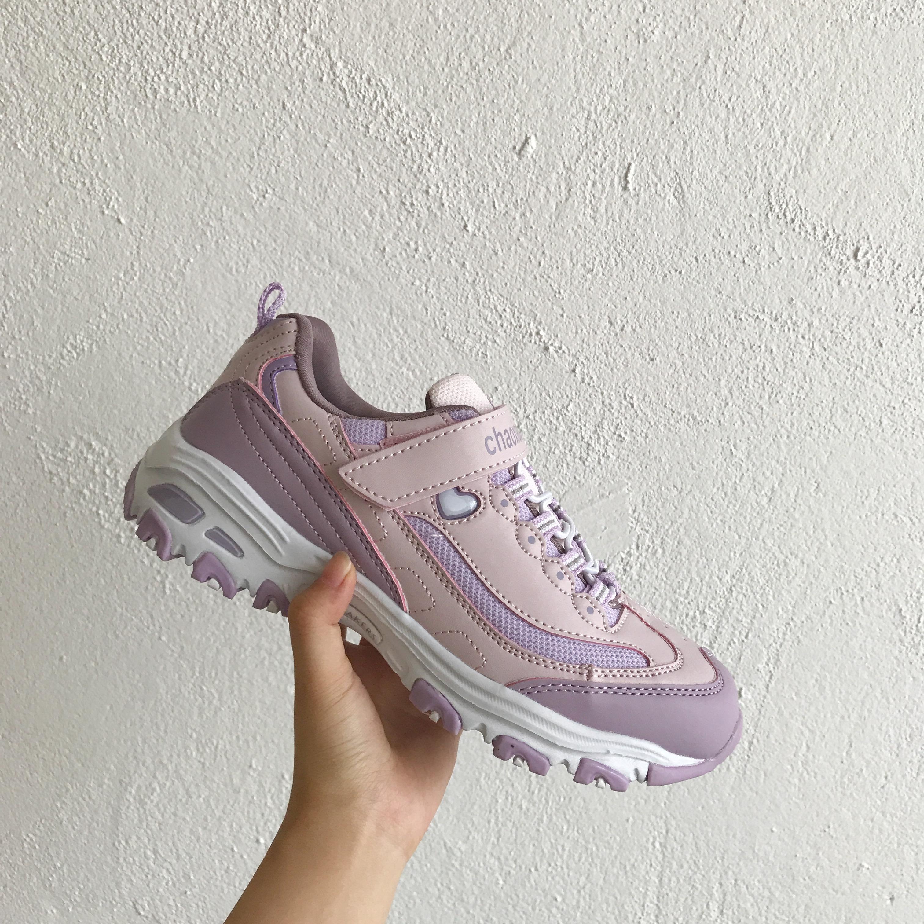 小黄桃日系香芋紫厚底魔术贴运动鞋ulzzang休闲学生跑步街拍女鞋