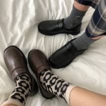 小黄桃韩国ulzzang学院风女鞋学生复古棕色玛丽珍皮鞋低帮鞋秋冬