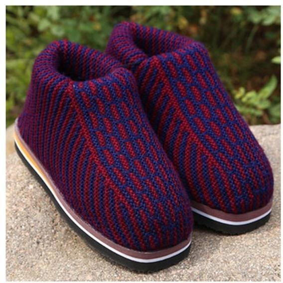 棉鞋冬季成品女编织打毛线针织加绒加厚纯手工勾线男居家保暖拖鞋