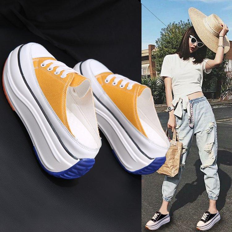 2021夏季新款半拖鞋包头厚底无后跟内增高女鞋网红外穿帆布懒人鞋