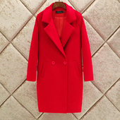 加厚茧型毛呢外套女中长款 领修身 大码 羊毛妮子大衣 韩版 西装 春秋装