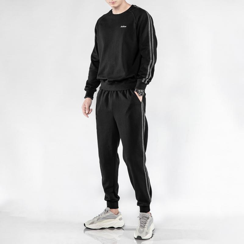 运动套装男士卫衣2020春季新款休闲装运动服加绒加厚搭配帅气潮流图片
