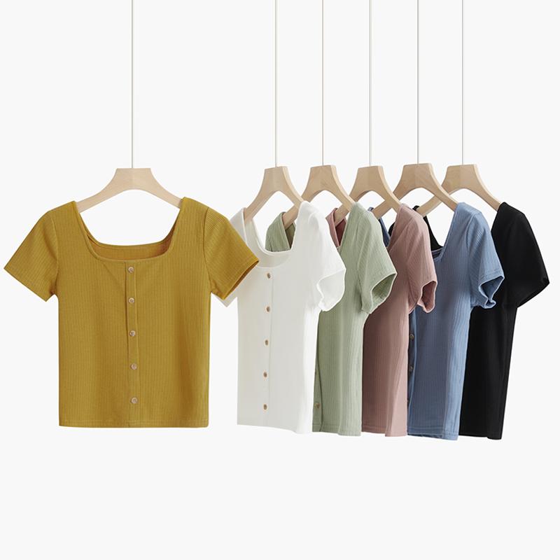 针织短款t恤女短袖夏2020年新款纯紫色高腰修身法式方领上衣