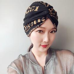 麻料字母帽子 黑色交叉帽 单层 夏季包头帽  头巾帽  透气穆斯林