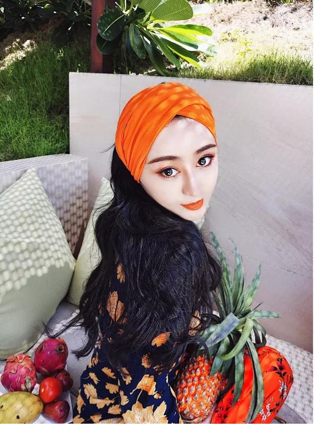 满19.90元可用1元优惠券橘色莫代尔包头巾头饰夏天旅游发带