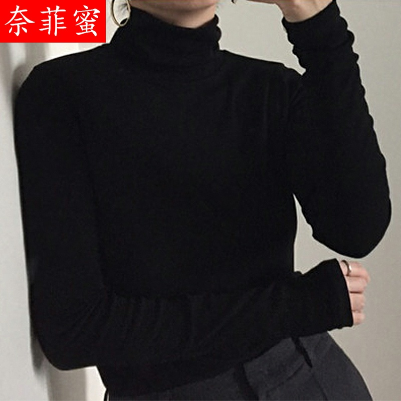 New style top in early autumn 2020 with foreign style high collar solid color bottom coat for women autumn winter long sleeve autumn T-shirt fashion