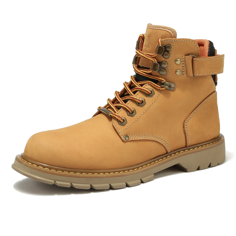 Camel men's shoes 2020 autumn and winter tooling boots British style Martin boots men's high-top shoes rhubarb boots cotton shoes plus velvet boots
