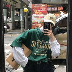 2019夏季卡通印花短袖男宽松字母T恤衫 B213-6739-特P25不低于39