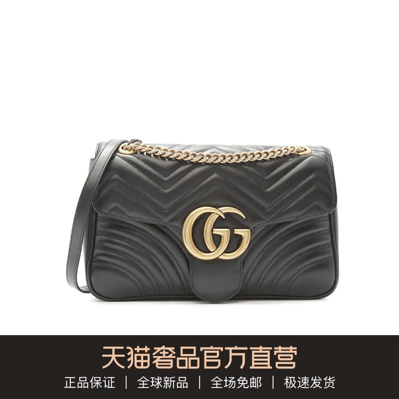 Gucci/古驰经典款多色牛皮GG Marmont链条中号女包单肩包斜挎包图片