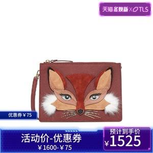 kate spade经典款FOX CLARISE酒红色牛皮女士手拿包单肩包斜挎包
