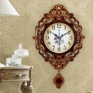 北极星欧式钟表创意挂钟摇摆时尚个性挂表静音客厅时钟石英钟家用