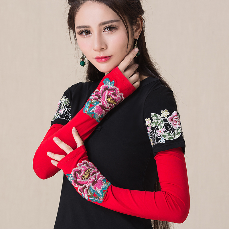Floral legend national style womens wear new retro embroidered q-flower long sun protection gloves accessories in autumn and winter 2019