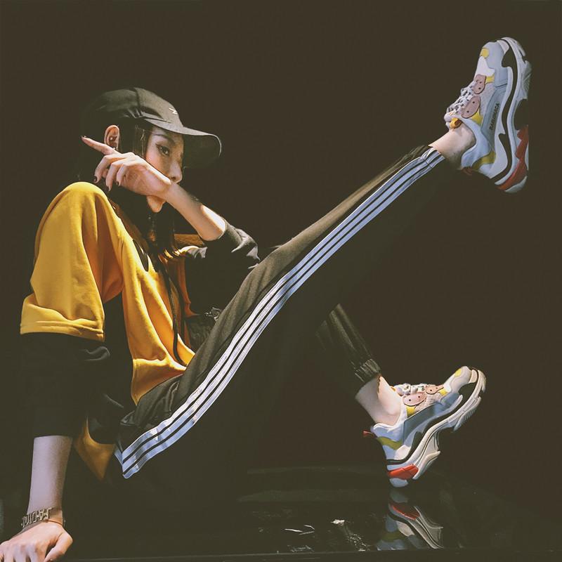 运动裤女秋2018新款韩版学生宽松街拍ulzzang百搭显瘦休闲裤子潮