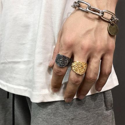 saz法式极简古董感复古男泰银戒指