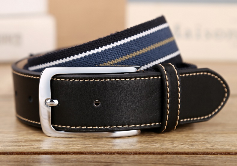 Canvas belt top leather leather belt for young and middle-aged mens belt pin buckle elastic woven belt British Golf Belt