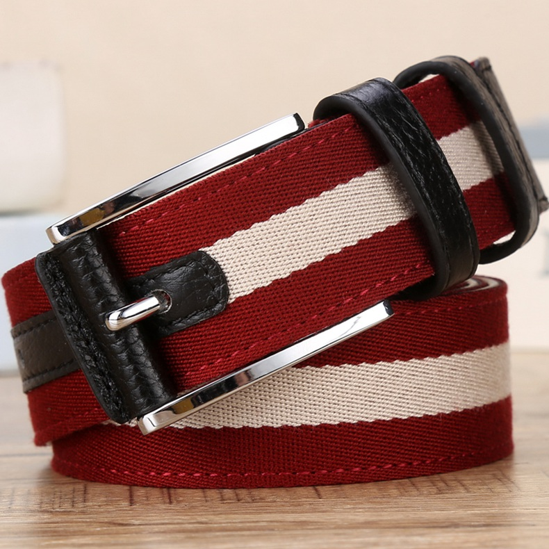 Benmingnian red belt mens canvas needle buckle leather casual belt womens belt fashion youth simple jeans cloth belt