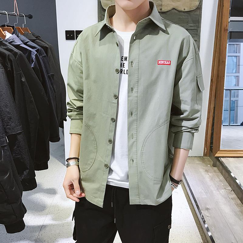 爆款C877-P55衬衫男士长袖韩版潮流帅气衬衣服学生百搭工装外套潮