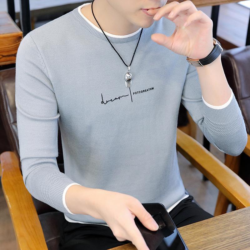 5840-P35男士�L袖毛衣秋季�n版修身�A�I男�b潮牌�r尚百搭打底〓衫�
