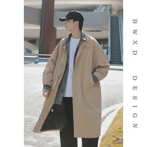 2020春季新款牛仔拼接假两件外套男士韩版中长款风衣潮流宽松大衣