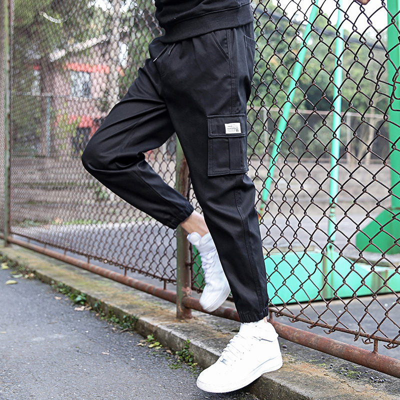 春季裤子男孩大童15岁13初中学生潮流帅气运动休闲裤工装裤男裤12