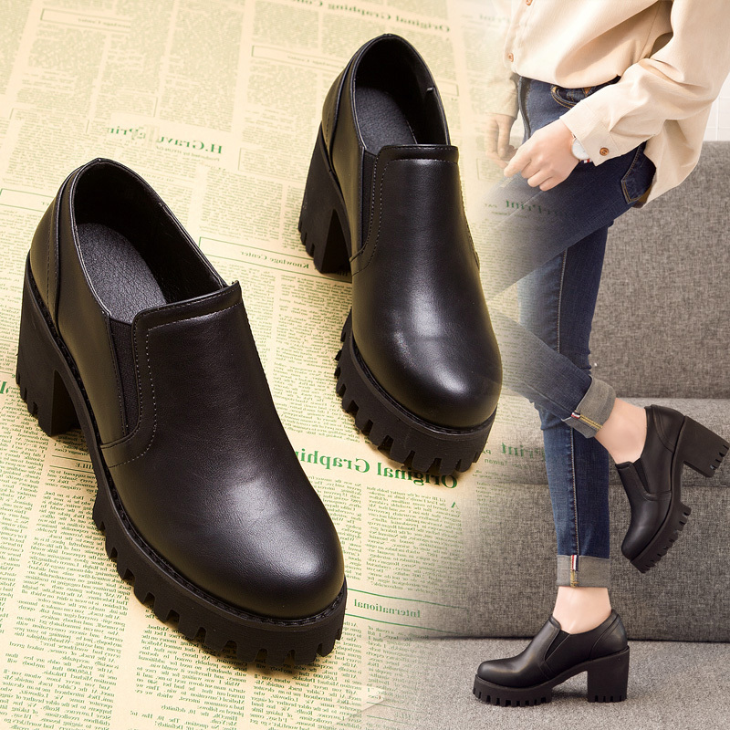 时尚女鞋秋季2020年新款高跟鞋子冬小皮鞋潮百搭粗跟短靴春秋单靴