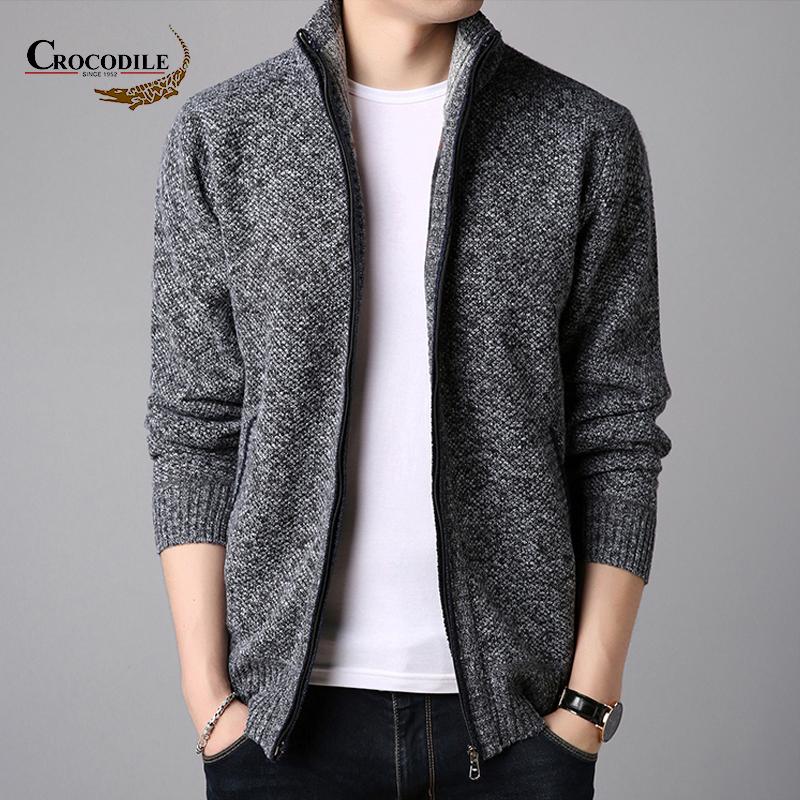 鳄鱼恤新款韩版修身男士开衫立领针织衫 潮流毛衣外套男帅气上衣