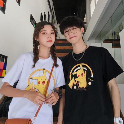 夏裝新款純棉港風情侶裝卡通寬松短袖T恤男女學生T恤T812-P30女類