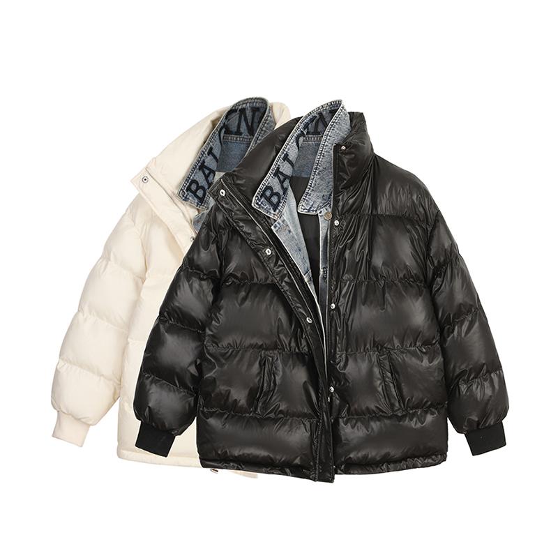 【现货】VEGA CHANG面包服短外套女秋冬假两件牛仔拼接棉服棉衣