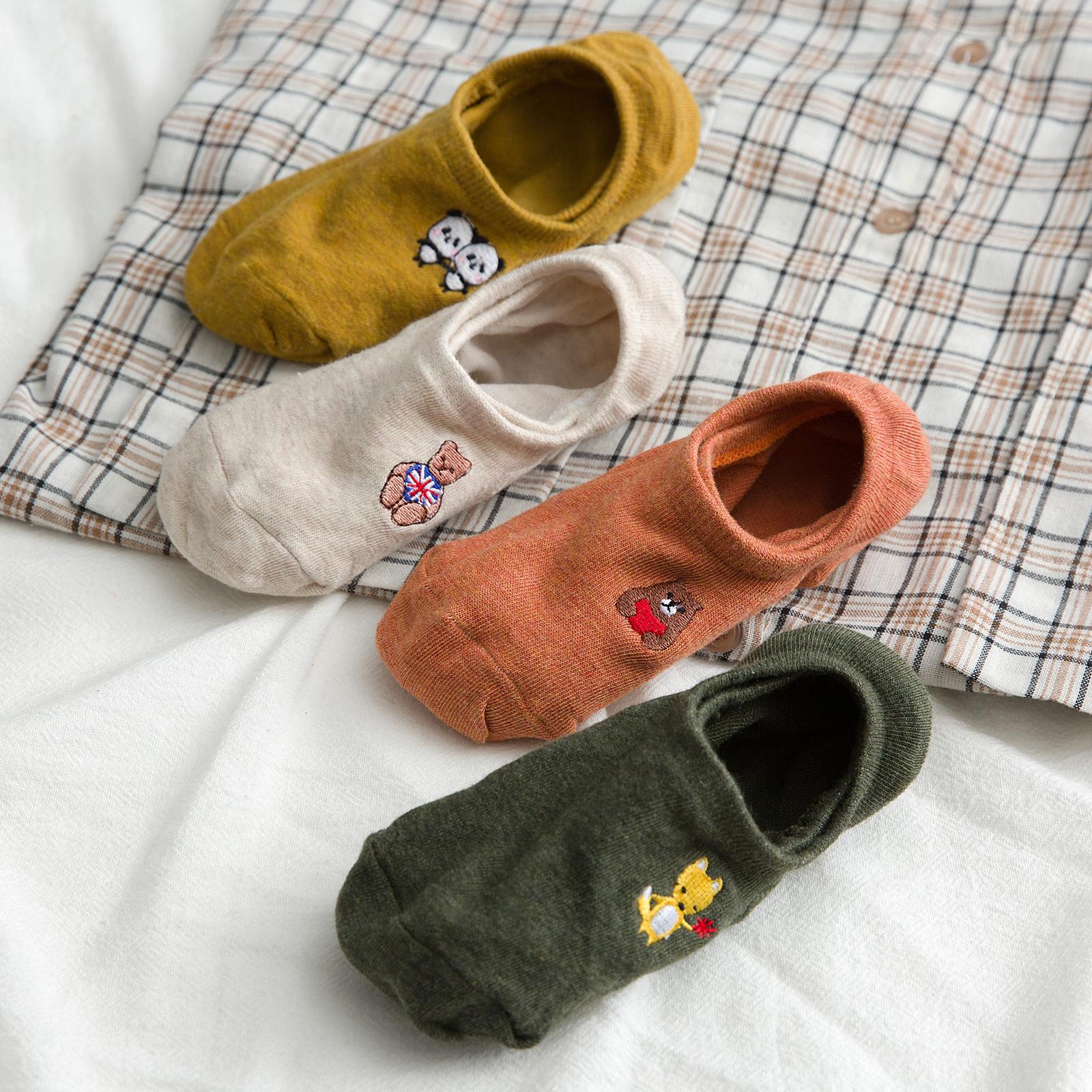纯棉浅口低帮硅胶防滑韩国女船袜