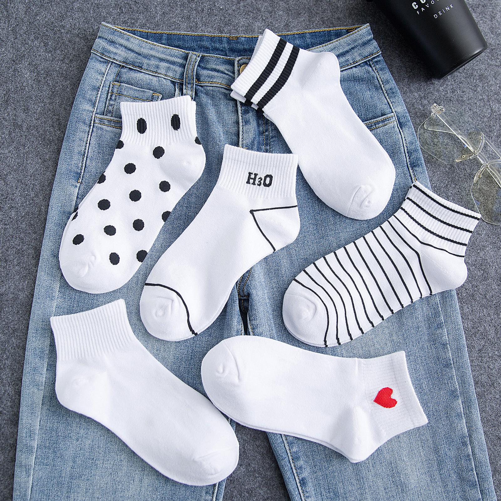白袜子女短袜白色浅口薄款潮ins夏季纯棉日系低帮条纹短筒袜春秋