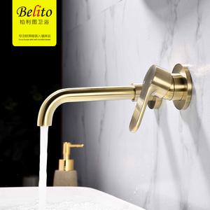 柏利图 全铜暗装拉丝金冷热水面盆水龙头嵌入墙式旋转台盆水龙头