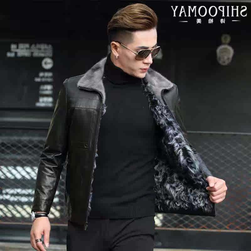 Luxury brand Haining fur one mens mink Lapel leather jacket mens Lake wool liner sheep leather jacket