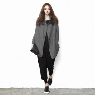 原创设计师品牌女装 2020春秋个性 外套中长款 风衣上衣 宽松显瘦大码