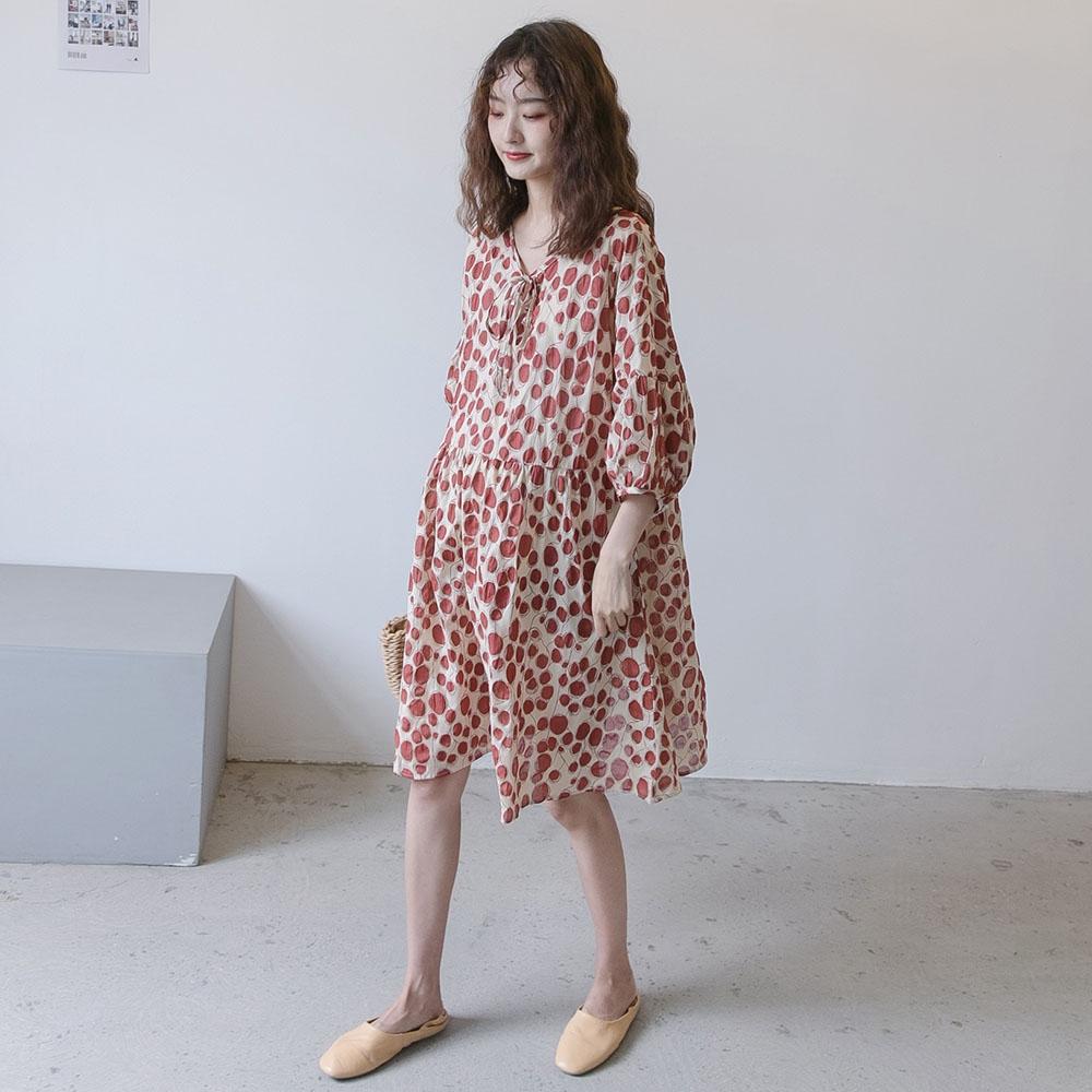 孕妇夏装连衣裙时尚款衣服 韩国红色波点娃娃裙孕妇装夏天裙子图片