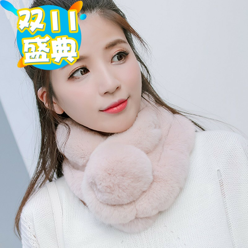 New 100% Rex Rabbit Fur grass scarf womens thickened warm and versatile real wool neck double-sided Plush