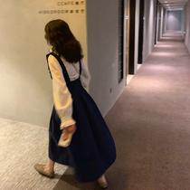 大Eees黑色背带裙百褶半身裙女秋2019新款学院风高腰显瘦a字长裙