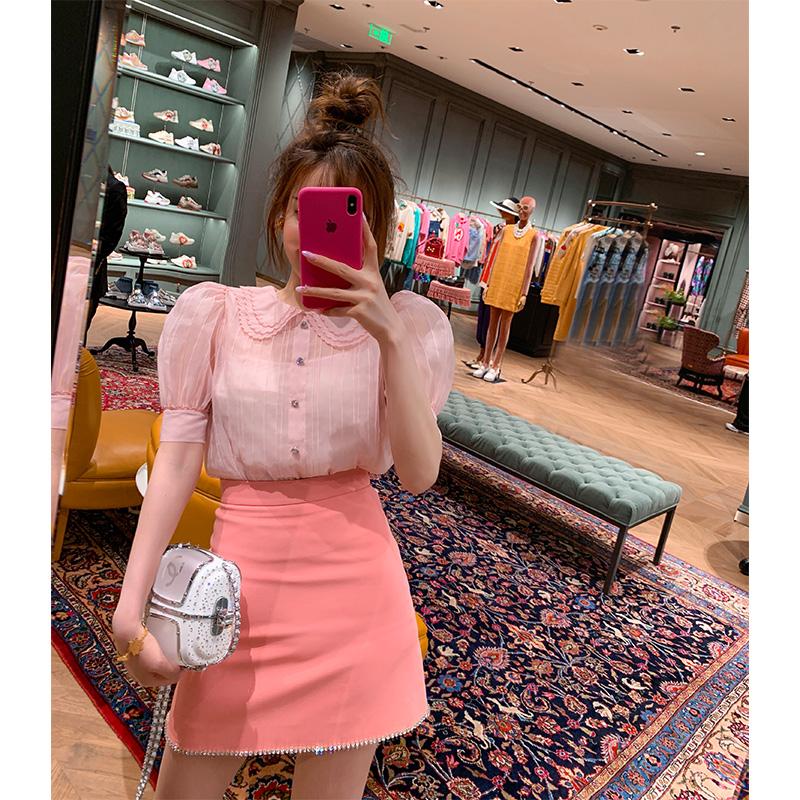 【地球店】气质洋气衬衫裙子两件套可盐可甜夏季半身裙套装女新款