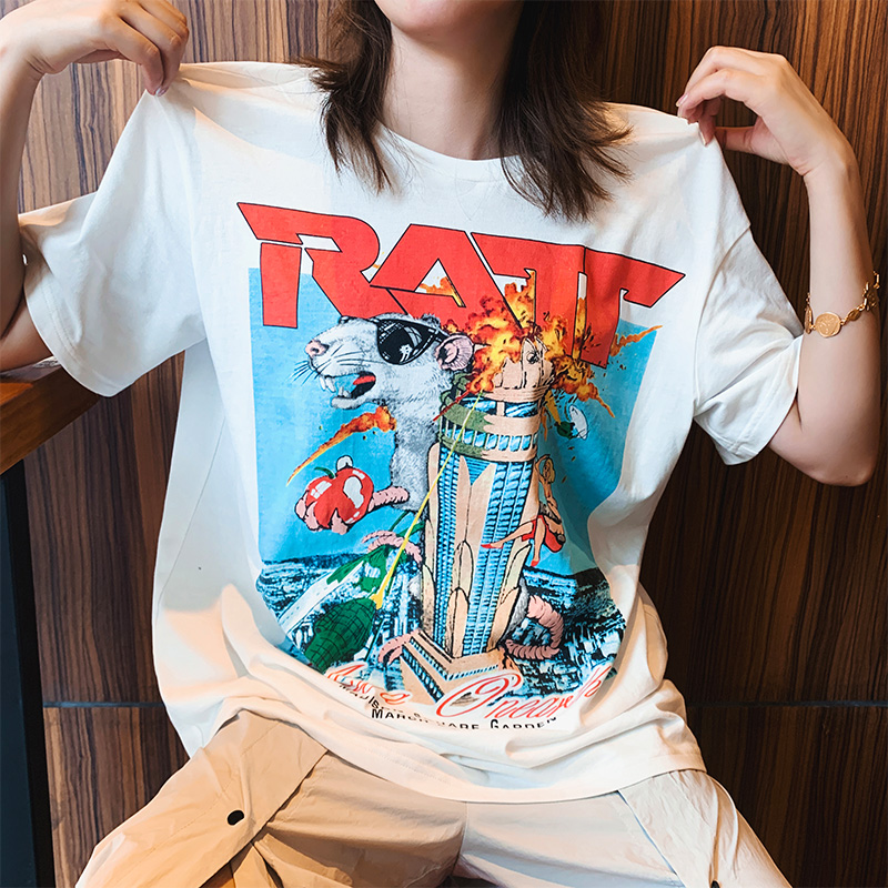 【地球店】白色印花纯棉短袖女韩版宽松T恤潮2020年夏季新款上衣