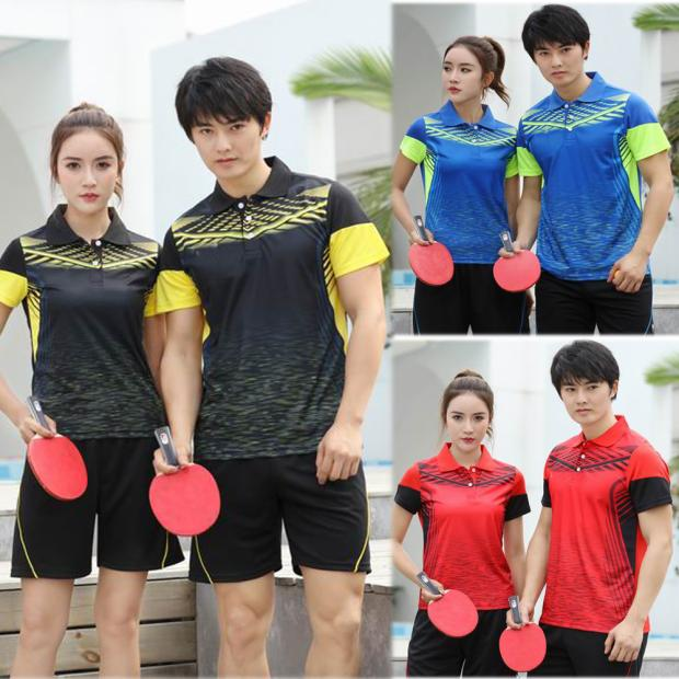 Sweat absorbing summer elastic short sleeve mens and womens table tennis suit slim fit version quick drying polo shirt printing customized