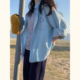 一三良品小个子 软软牛仔~贴布浅蓝牛仔衬衫女 韩版休闲开衫外搭