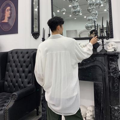 2019夏秋款純色背后褶皺設計寬松男士長袖襯衫 二色KK973/P70