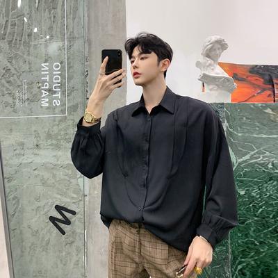 2019春装胸前多层拼接装饰宽松男士长袖衬衫 二色KK875/P70