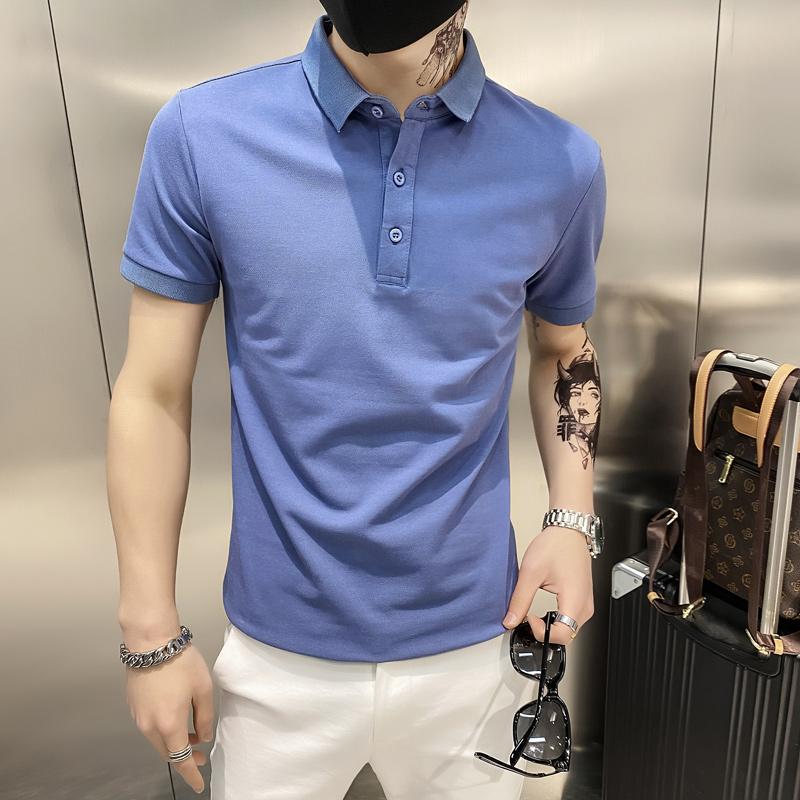 蓝色2021店主风精神小伙修身polo衫男士短袖T恤PL88-P35特 控价59