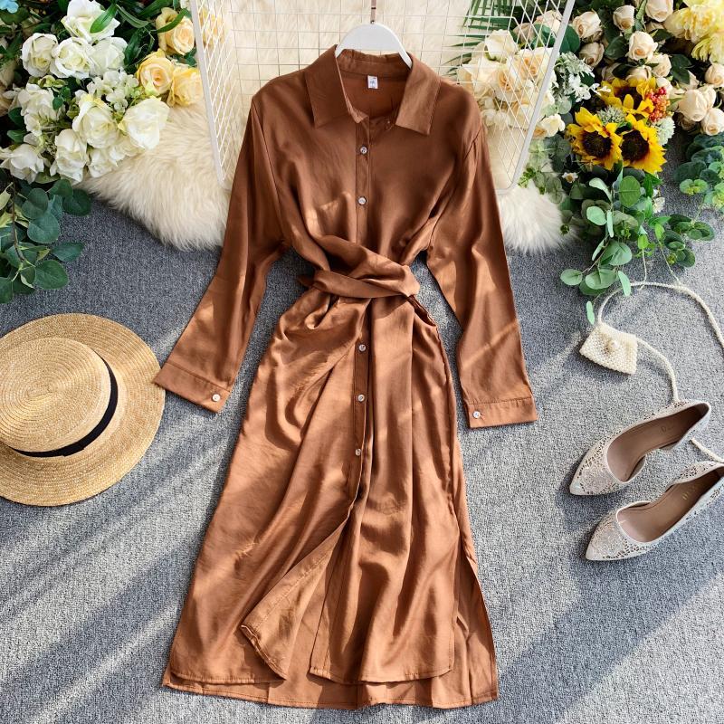 牛油果绿衬衫裙女设计感小众系带收腰显瘦气质开叉中长款连衣裙子限5000张券