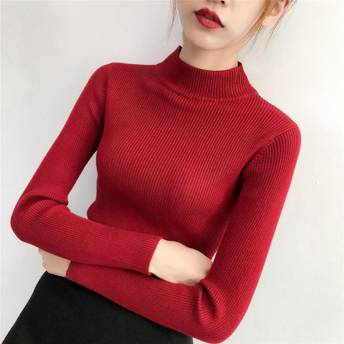 实拍半高领毛衣女修身打底衫紧身针织衫厚上衣不起球不掉色