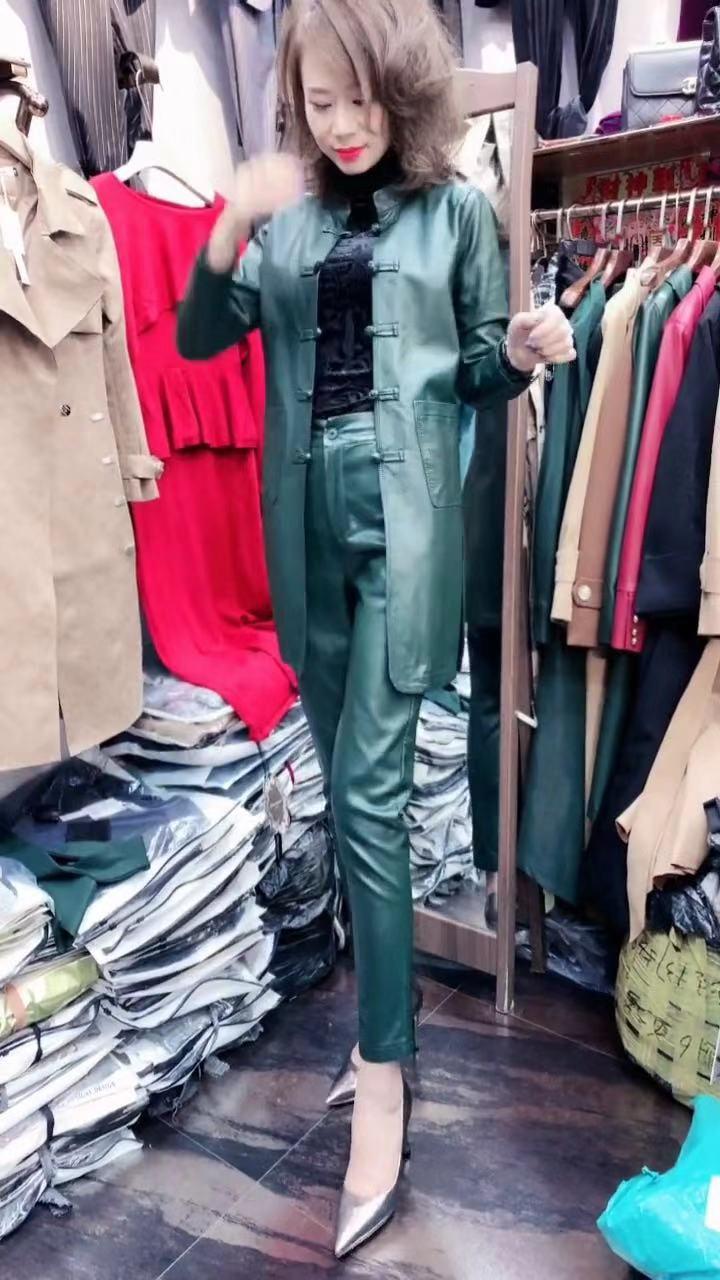 限10000张券和嘉808款2019秋新款时尚气质名媛红色纯皮套装风衣长裤两件套女